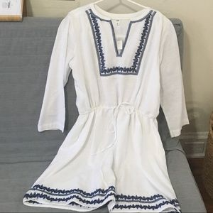 Embroidered Neck White Dress